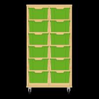 Storix Materiaalkast 12 beuken, B710xH1200xD465 - laden groen