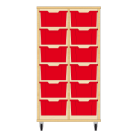 Storix Materiaalkast 12 beuken, B710xH1200xD465 - laden rood