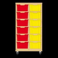 Storix Materiaalkast 12 beuken, B710xH1200xD465 - laden rood-geel