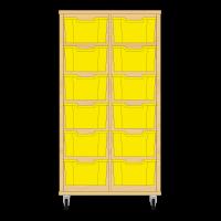 Storix Materiaalkast 12 beuken, B710xH1200xD465 - laden geel