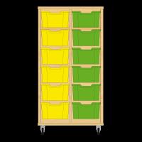 Storix Materiaalkast 12 beuken, B710xH1200xD465 - laden geel-groen