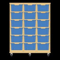 Storix Materiaalkast 12 beuken, B1050xH1200xD465 - laden blauw