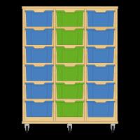Storix Materiaalkast 12 beuken, B1050xH1200xD465 - laden blauw-groen-blauw
