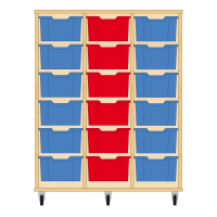 Storix Materiaalkast 12 beuken, B1050xH1200xD465 - laden blauw-rood-blauw