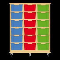 Storix Materiaalkast 12 beuken, B1050xH1200xD465 - laden blauw-rood-groen