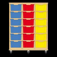 Storix Materiaalkast 12 beuken, B1050xH1200xD465 - laden blauw-rood-geel