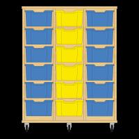 Storix Materiaalkast 12 beuken, B1050xH1200xD465 - laden blauw-geel-blauw