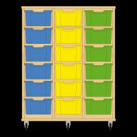 Storix Materiaalkast 12 beuken, B1050xH1200xD465 - laden blauw-geel-groen
