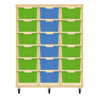 Storix Materiaalkast 12 beuken, B1050xH1200xD465 - laden groen-blauw-groen