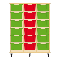 Storix Materiaalkast 12 beuken, B1050xH1200xD465 - laden groen-rood-groen