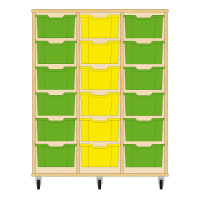 Storix Materiaalkast 12 beuken, B1050xH1200xD465 - laden groen-geel-groen