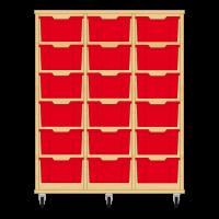Storix Materiaalkast 12 beuken, B1050xH1200xD465 - laden rood