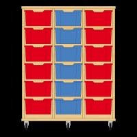Storix Materiaalkast 12 beuken, B1050xH1200xD465 - laden rood-blauw-rood
