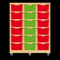 Storix Materiaalkast 12 beuken, B1050xH1200xD465 - laden rood-groen-rood