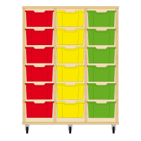 Storix Materiaalkast 12 beuken, B1050xH1200xD465 - laden rood-geel-groen