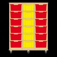 Storix Materiaalkast 12 beuken, B1050xH1200xD465 - laden rood-geel-rood