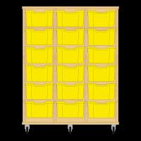 Storix Materiaalkast 12 beuken, B1050xH1200xD465 - laden geel