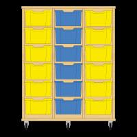 Storix Materiaalkast 12 beuken, B1050xH1200xD465 - laden geel-blauw-geel