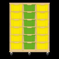Storix Materiaalkast 12 beuken, B1050xH1200xD465 - laden geel-groen-geel