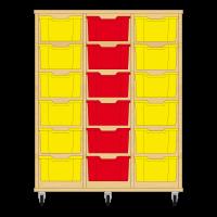 Storix Materiaalkast 12 beuken, B1050xH1200xD465 - laden geel-rood-geel
