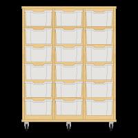 Storix Materiaalkast 12 beuken. B1050xH1200xD465 - laden transparant