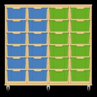 Storix Materiaalkast 12 beuken, B1390xH1200xD465 - laden blauw-blauw-groen-groen