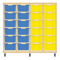 Storix Materiaalkast 12 beuken, B1390xH1200xD465 - laden blauw-blauw-geel-geel