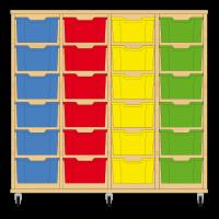 Storix Materiaalkast 12 beuken, B1390xH1200xD465 - laden blauw-rood-geel-groen