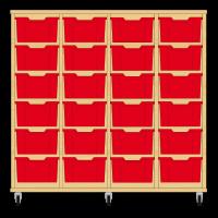 Storix Materiaalkast 12 beuken, B1390xH1200xD465 - laden rood