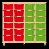 Storix Materiaalkast 12 beuken, B1390xH1200xD465 - laden rood-rood-geel-geel