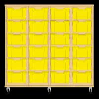 Storix Materiaalkast 12 beuken, B1390xH1200xD465 - laden geel