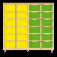 Storix Materiaalkast 12 beuken, B1390xH1200xD465 - laden geel-geel-groen-groen