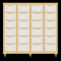 Storix Materiaalkast 12 beuken. B1390xH1200xD465 - laden transparant