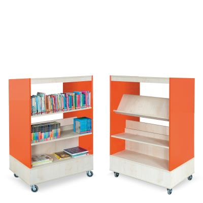Foxis boekenkast dubbelzijdig B900 x D600 x H1340 mm - ahorn-oranje