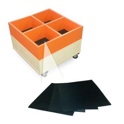 Vierkante rubbers t.b.v. prentenboekenbak