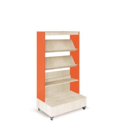 Foxis boekenkast enkelzijdig met voetpresentatie schap B900 x D600 x H1660 mm - ahorn-oranje