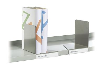 Verschuifbare boekensteun links met label, Parelmoer wit