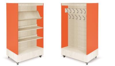 Foxis boekenkast met kapstok B900 x D600 x H1660 mm - ahorn-oranje