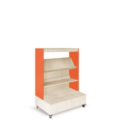 Foxis boekenkast enkelzijdig verrijdbaar B900 x D600 x H1340 mm - ahorn-oranje