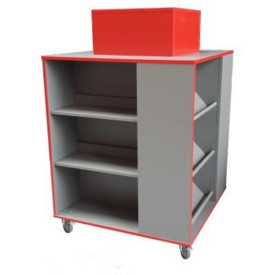 4 zijdige boekenkast rood-muisgrijs - B900xD900xH1100 mm