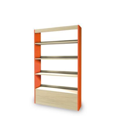 Foxis wandboekenkast B900 x D300 x H1660 mm - ahorn-oranje