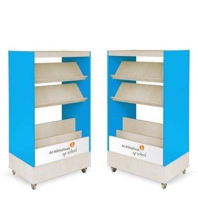 Foxis browser boekenkast dubbelzijdig B900 x D600 x H1660 mm - ahorn-oceaanblauw
