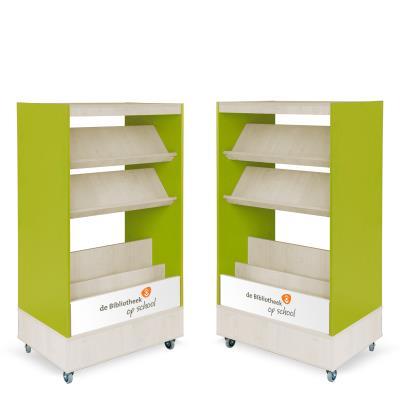 Foxis browser boekenkast dubbelzijdig B900 x D600 x H1660 mm - ahorn-avocadogroen