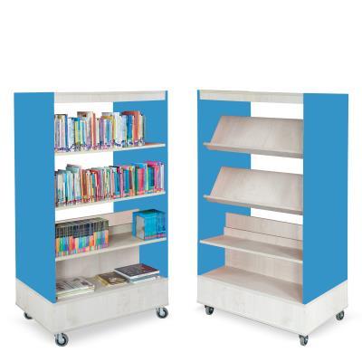 Foxis boekenkast dubbelzijdig B900 x D600 x H1660 mm - ahorn-oceaanblauw