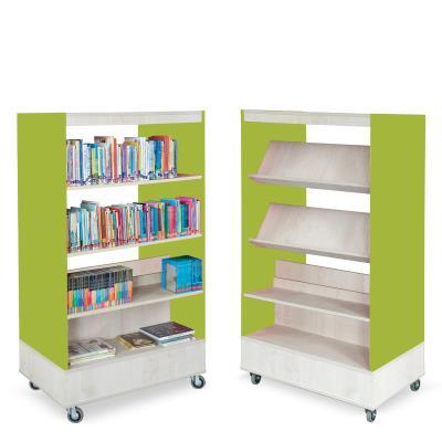Foxis boekenkast dubbelzijdig B900 x D600 x H1660 mm - ahorn-avocadogroen