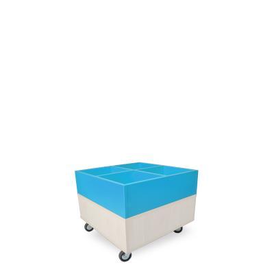 Foxis prentenboekenbak B600 x D600 x H464 mm - ahorn-oceaanblauw