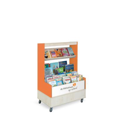 Foxis browser boekenkast enkelzijdig B900 x D600 x H1340 mm - ahorn-oranje