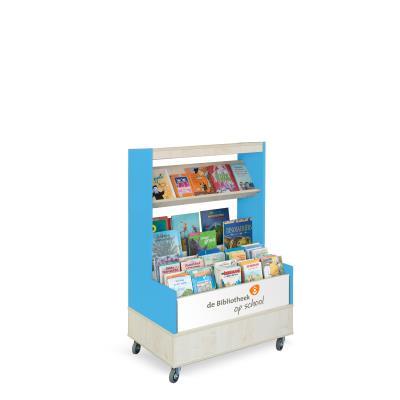 Foxis browser boekenkast enkelzijdig B900 x D600 x H1340 mm - ahorn-oceaanblauw