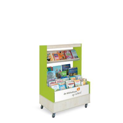 Foxis browser boekenkast enkelzijdig B900 x D600 x H1340 mm - ahorn-avocadogroen