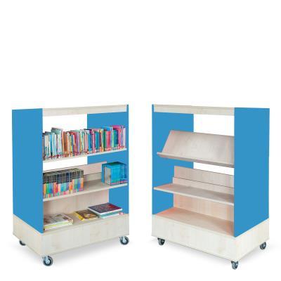 Foxis boekenkast dubbelzijdig B900 x D600 x H1340 mm - ahorn-oceaanblauw